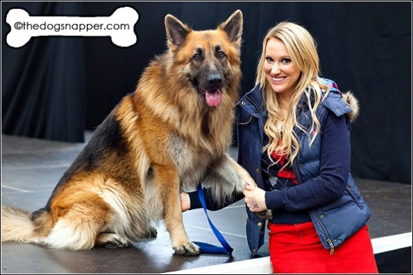 Actress Rebecca Ferdinando with her dog Jackson the German Shepherd